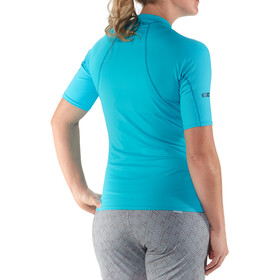 NRS W's Rashguard Short Sleeve Shirt Blue Atoll